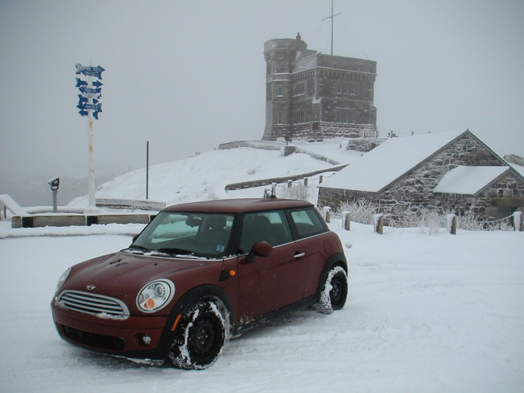 The MINI on top of Signal Hill in Newfoundland. Why would I drive it up there in a storm? Because it could.