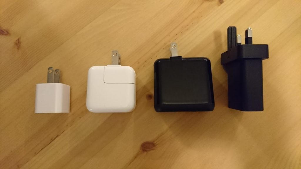 Wall plugs: iPhone 1 amp, iPad 2.1 amp, Anker QuickCharge 3.0, Sony UK 1.5 amp